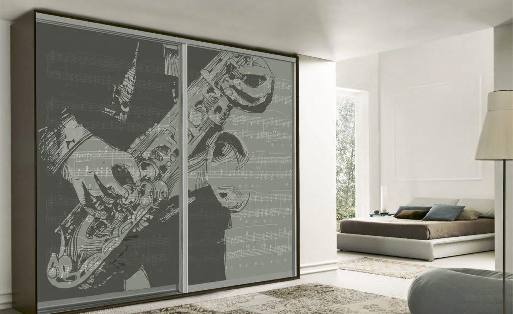 Ψηφιακή εκτύπωση ντουλάπας με θέμα τη μουσική